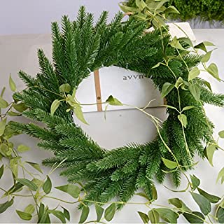 Linker Wish Year-Round Wreath 10PCS Artificial Flower Wreath Fake Plants Pine Branches for Christmas Party Decor Xmas Tree Ornaments Kids Gift Supplies