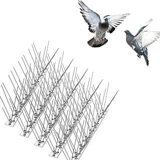 LOPDJSEG Bird Spikes for Pigeons Small Birds Cats Anti Climb Security Wall Stainless Steel Bird Deterrent Spikes-Cover 15 Feet (14 Pack)