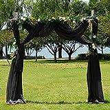 PONY DANCE Cortinas Visillos Decor Ventanas - Pañuelo Largo Diseño Moderno Cortinas Tul Colgantes para Salon Habitacion Juvenil Matrimonio, 1 Panel, Negro, 548 x 152 cm