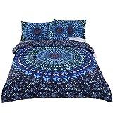 Sleepwish Duvet Cover Colorful Mandala Bedding 4 Pcs Bohemian Bedding Full Size Blue Paisley Bedspread