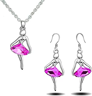 df3717efb91 The Dance Bible Women Silver Plated Pink Crystal Ballerina Pendant and  Earrings Set for Girls
