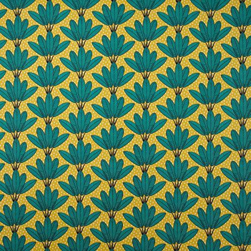 Mooi leven. Decoratieve stof katoen palmbladeren waaiers punten mosterd geel groen wit zwart 1,6 m breedte