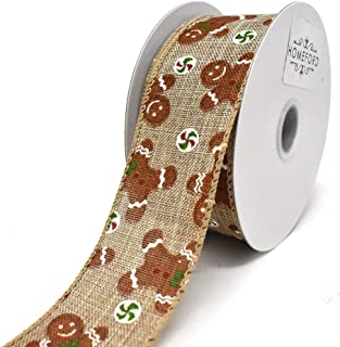 Homeford Natural Linen Gingerbread Men Wired Ribbon, 1-1/2-Inch, 10-Yard