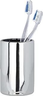 WENKO 19893100 Toothbrush tumbler Polaris Chrome, Ceramic, 3 x 4.4 x 3 inch, Chrome