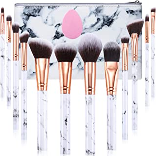 Makeup Brushes Set Gee-rgeous Professional 12Pcs Marble Make Up Brushes Set with Foundation Eyeshadow Eyebrow Brush Make Up Sponge Puff and Cosmetic Bag