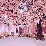 2.52 metros de altura árboles de flores de cerezo artificiales, melocotón rosa y blanco plantas artificiales enredaderas colgantes guirnalda de flores de seda para la decoración del hogar del banque