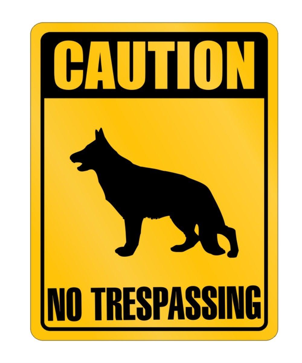 Idakoos - CAUTION German Shepherd NO TRESPASSING - Dogs - Parking Sign