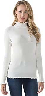 Women's Mock Neck Sweater Slim Fit Ruffle Trim Ribbed Knit Pullover Tops