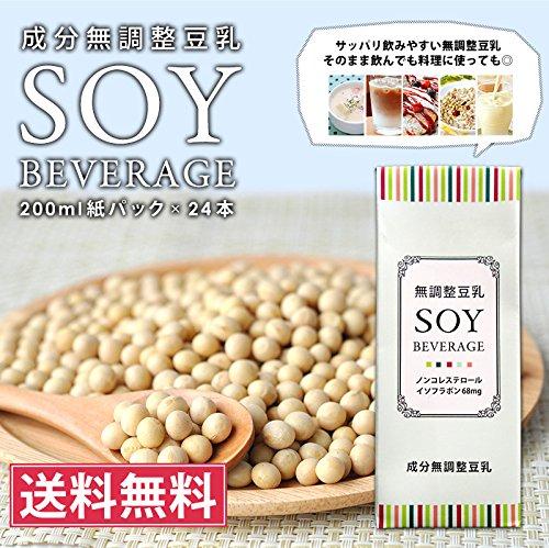 無調整豆乳 SOY BEVERAGE [ソイ ビバレッジ] 200ml紙パック×24本 送料無料 【4~5営業日以内に出荷】
