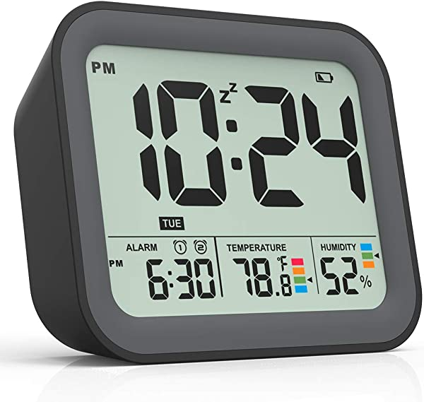 Battery Operated Alarm Clock Small Simple Travel Alarm Clock With Indoor Thermometer Digital Hygrometer Loud Dual Alarm Clock For Bedrooms Bedside Desk Teens Kids Black