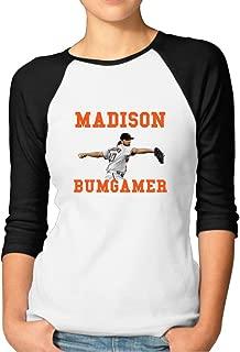 P-Jack Women's MadBum Baseball Bumgarner 3/4 Sleeve Raglan Baseball Shirt Black
