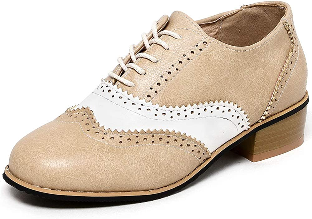 VIMISAOI Women's Perforated depot Wingtip Lace Beauty products H Low Chunky Oxfords Up