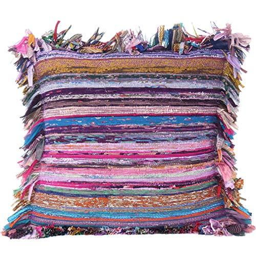 Eyes of India – Colorida alfombra de chindi para sofá, funda de cojín, colorida, decorativa, funda bohemia india bohemia, Morado, 24 X 24 in. (60 X 60 cm)