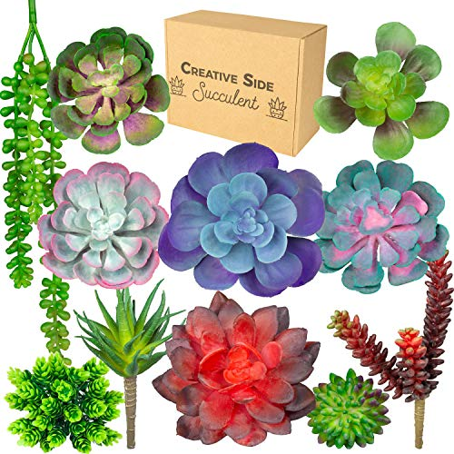 Creative Side Artificial Succulent Plants - 11 Soft Realistic Lifelike - Colorful Fake Succulent Plants Arrangement, Mini Faux Succulents, Large Succulents Unpotted Plant For Planters And Indoor Decor