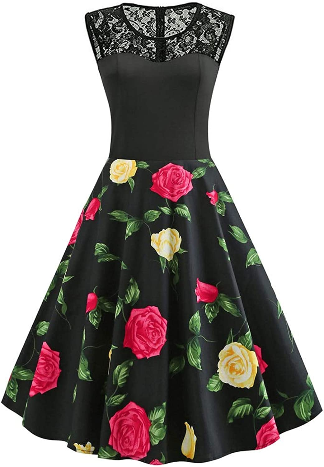 FUZHUANGHM pink Floral Print Lace Party Round Neck Sleeveless Rockabilly Swing Women Vintage Dress Retro Dress Robe Tunic