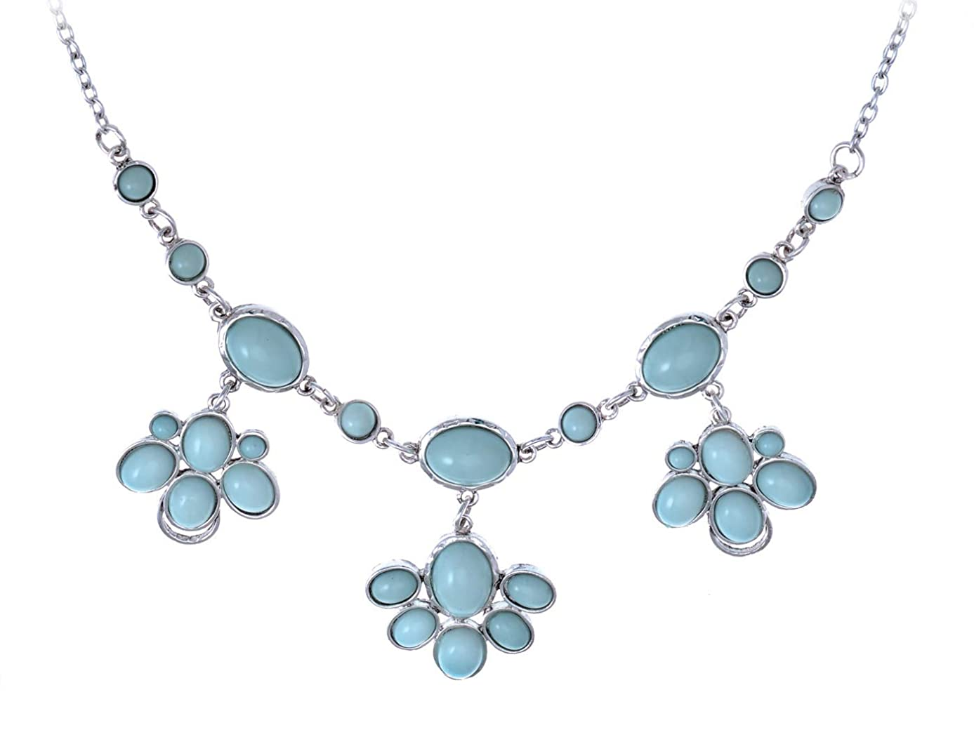 Alilang Sea-Foam Pastel Green Floral Flower Costume Ethnic Necklace