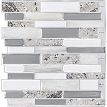 """Modern Grey Peel and Stick Tile Backsplash for Kitchen, Decorative Vinyl Backsplash Tile Peel and Stick Subway Tiles, Smart Sticker Tile for RV Kitchen 10"""" H x 10"""" L Pack of 5"""