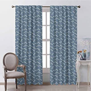 GUUVOR Dragonfly Room Darkened Heat Insulation Curtain Tropical Wildlife Pattern Japanese Style Oriental Nature Inspired Pattern Living Room W84 x L84 Inch Slate Blue White