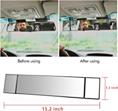 Car Rear View Mirror, Car Universal 15.2'' Interior Clip On Panoramic Rearview Mirror Wide Angle Rear View Mirrors, Large View Rearview Mirrors for Reducing Blind Spots(15.2'' L x 3.2'' H)