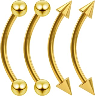 4pc 16g Gold Curved Barbell Earrings Bar J Curve Banana Cartilage 16 Gauge Piercing Jewelry Spiked