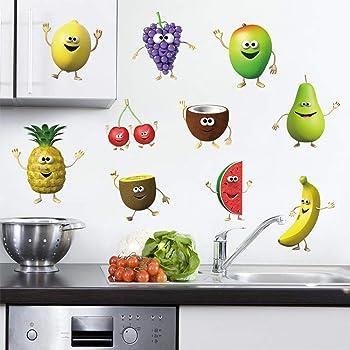 decalmile Adesivi Murali Cucina Frutta Emoji Adesivi da ...