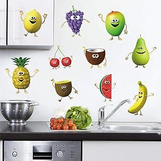 decalmile Pegatinas de Pared Cocina Fruta Emoji Vinilos Decorativos Plátano Limón Mango Emoji Adhesivos Pared Cocina Comedor Refrigerador Infantiles Niños Dormitorio Salón