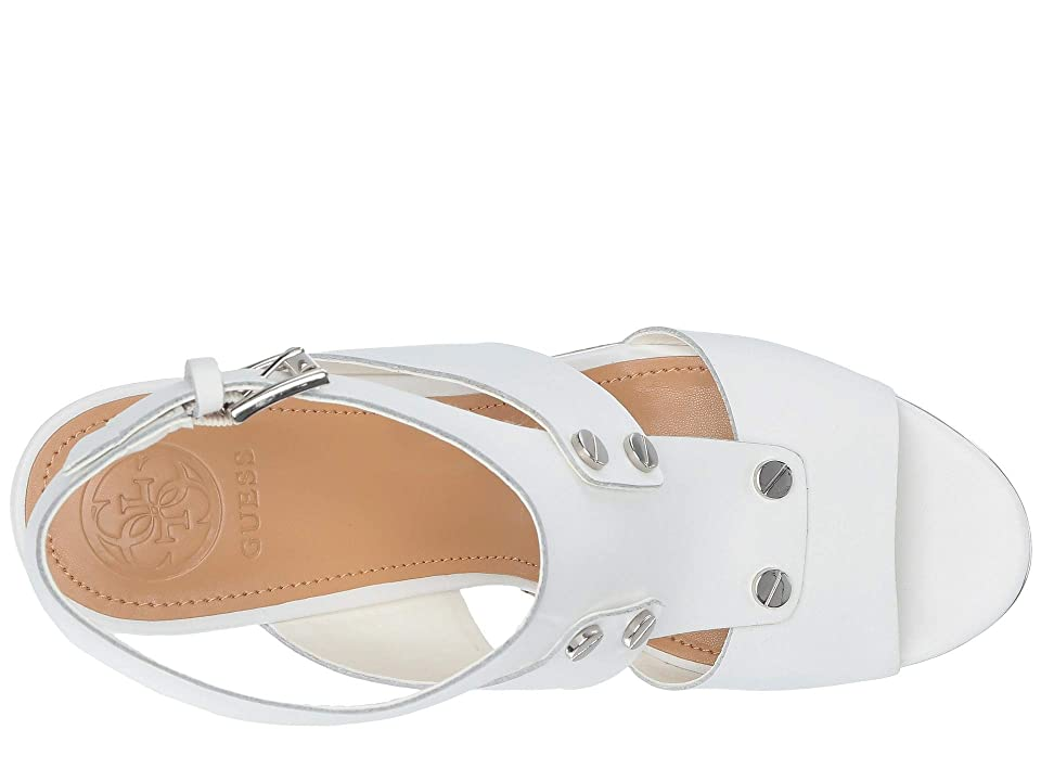 GUESS Halla (White Leather) Women's Wedge Shoes