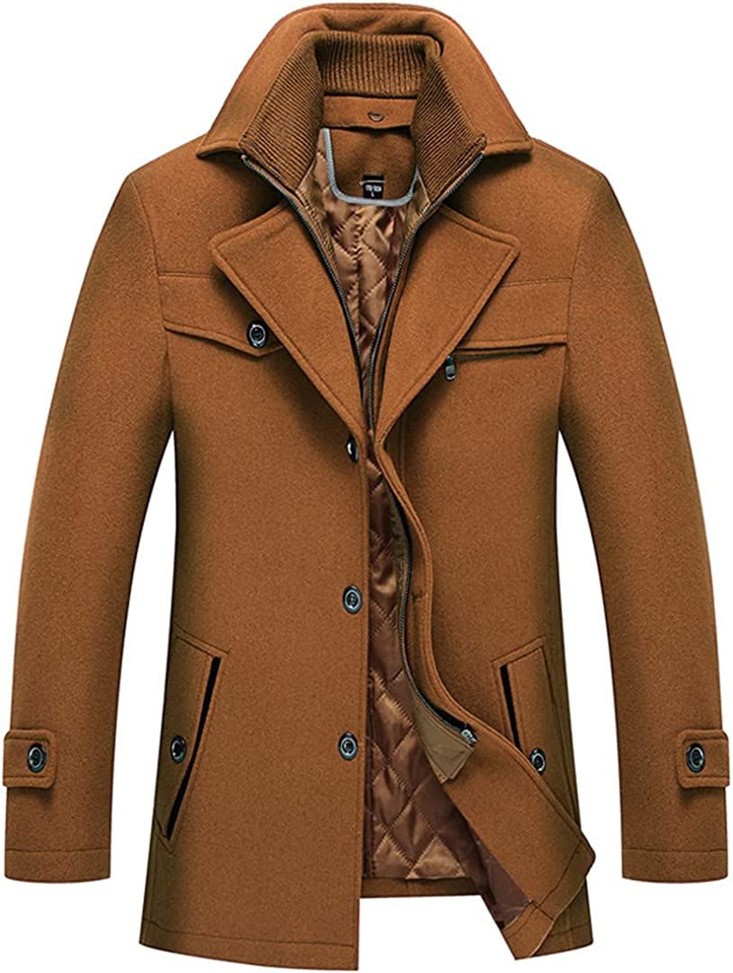 Winter Wool Blend Coat Men Double Collar Wool Coats Solid Color Warm Thick Wool Overcoat
