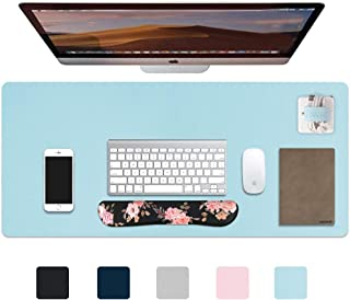 "iCasso Desk Pad, Waterproof PU Leather Desk Blotter Protector Mouse Pad, Smooth Surface Desk Mat, Durable Desk Writing Pad for Work, Game, Office, Home Accessories - 35.4"" x 15.7"" - Serenity Blue"