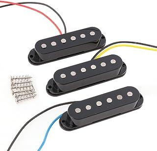 LYWS Set of 3PCS Alnico 5 Alnico V Single Coil Pickup SSS for ST Strat Style Guitar Black