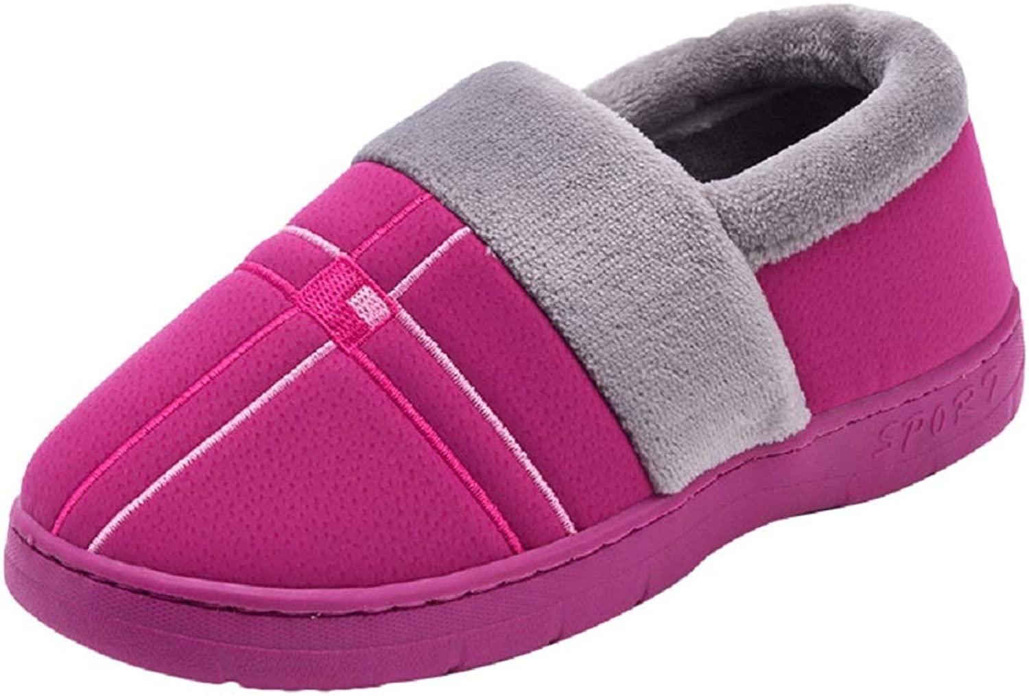 Winter Home Slipper Women Warm Soft Cotton Slippers Non-Slip Flat Confinement Cotton shoes for Ladies and Man,Purple,3637