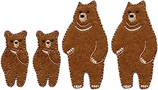 YOUOR 4pcs Parent and Child Bear Embroidery Patch Animal Badge Iron on Sew On Patches (Bear)