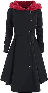 Women's Plus Size Asymmetric Contrast Hooded Skirted Coat
