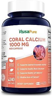 Coral Calcium 1000 mg - 240 Caps (Non-GMO & Gluten-Free) Supports Bone Health & PH Levels*- Contains Magnes...