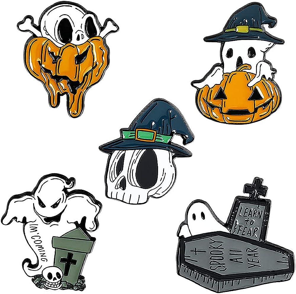 Punk Skeleton Enamel Pins Set,Halloween Grim Reaper Pins for Backpacks,Gothic Buttons for Backpacks Jackets
