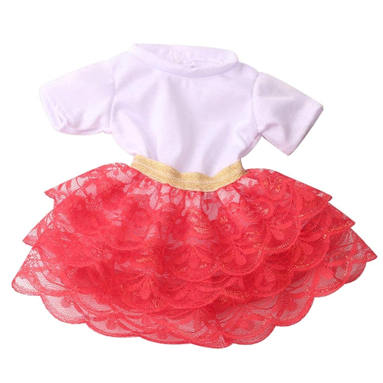特権空軽食人形服 ワンピース スカート パッチワーク 18インチ人形 アメリカンドール ドールの服 全5色 - 赤