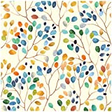 HaokHome 93047 Floral Peel and Stick Wallpaper Colorful Forest Beige/Orange/Blue Removable Contactpaper for Nursery Decorations 17.7in x 118in