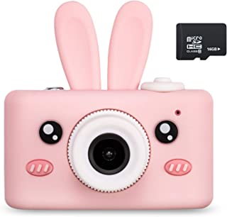 Abdtech Kids Camera Toys for 4-8 Year Olds Girls, Rechargeable Children Digital Cameras with Rabbit Cover for Girl Boys Shockproof 8MP with 16G SD Card Best Birthday