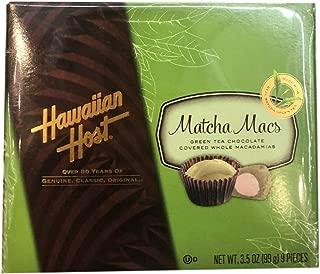 Hawaiian Host Matcha Macs Green Tea Chocolate Covered Whole Macadamias Nuts Classic Original Genuine Snacks 3.5oz - total of 2 units