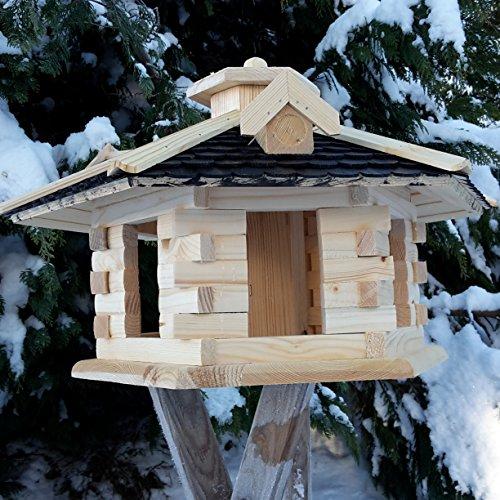 Vogelhaus Vogelhäuser Vogelfutterhaus Vogelhäuschen aus Holz Schreinerarbeit Gaube Schwarz sehr Groß XXL - 3