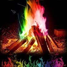 Elever Colorful Flames, Multicolor Flame Powder Flame Dyeing Outdoor Bonfire Party Supplies Long-Lasting Pulsating Flame Color Changer (25g)