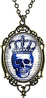 Best blue skull with crown necklace Reviews