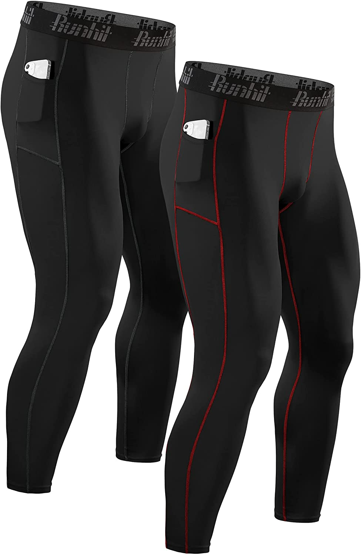 Runhit Compression Pants Men Leggings Pocket Running Tights Athletic Base Layer at  Men's Clothing store