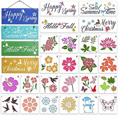 24 Pieces Flower Stencils Leaf Rose Sunflower Stencils Set Reusable Season Stencils Spring Summer product image