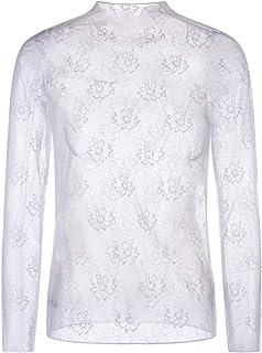 SilRiver Women's Sexy Clubwear Mesh Sheer See Through Tops Long Sleeve Slim Fit Blouse Shirt