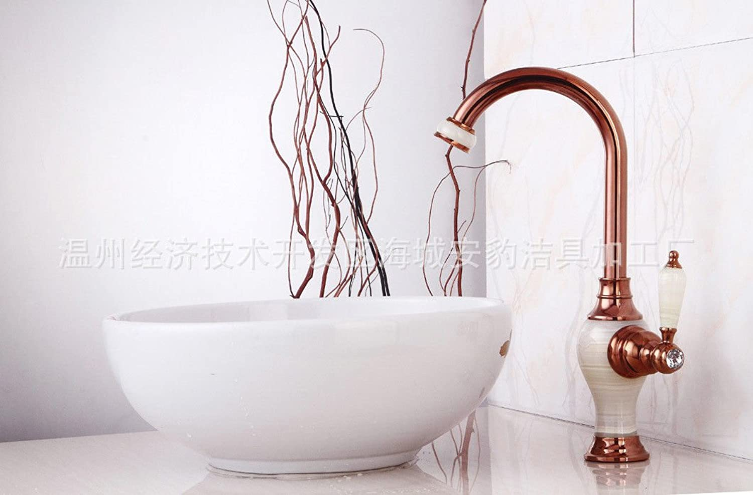 Hlluya Professional Sink Mixer Tap Kitchen Faucet golden Jade antique paint draw-down hot and cold basin mixer