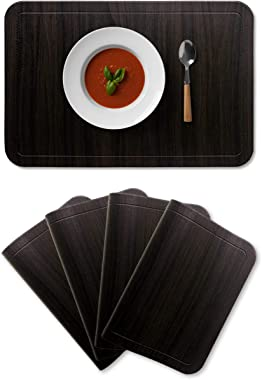 Alpiriral Dining PlaceMats Set of 4 Heat Resistant PlaceMats Easy to Wipe Off Scrub Vinyl Place Mats Washable Table Mats Protect A Table from Messes & with A Nice Looking in hickory wood brown