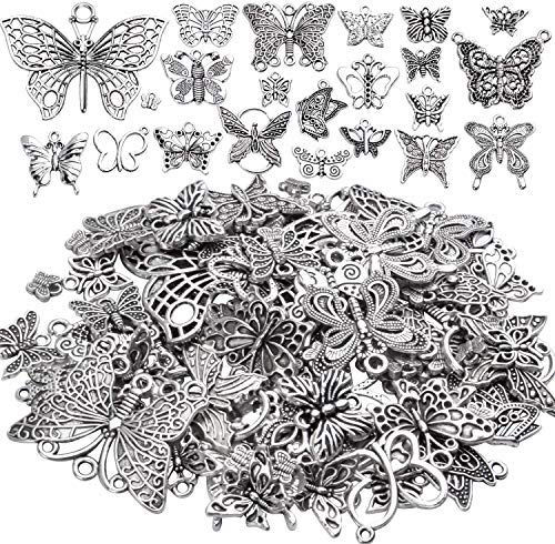 100g Craft Supplies Antique Silver Mixed Butterfly Charms Fly Insect Pendant Charms for DIY Necklace Bracelet Crafting,30-60pcs