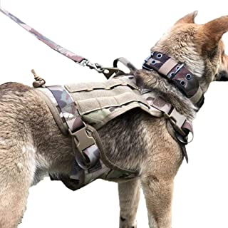 Tactical Large Pet Dog Vest,Nylon Working Pet Harness Vest with Control Handle And Adjustable Dog Leash for Training,Camou...