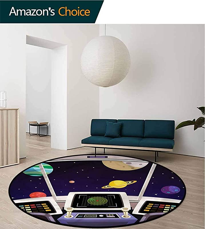 RUGSMAT Space Area Rugs Ring 3D Non Slip Rug Flying Ship Cabin Interior Non Slip No Shedding Kitchen Soft Floor Mat Diameter 24